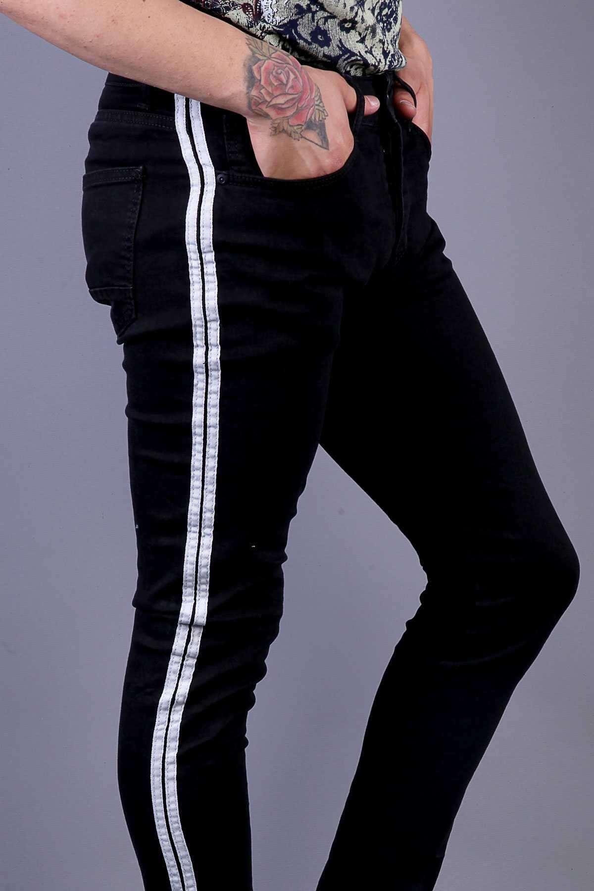 Yanı Çift Şeritli Paça Ucu Püsküllü Slim Fit Kot Pantolon Siyah