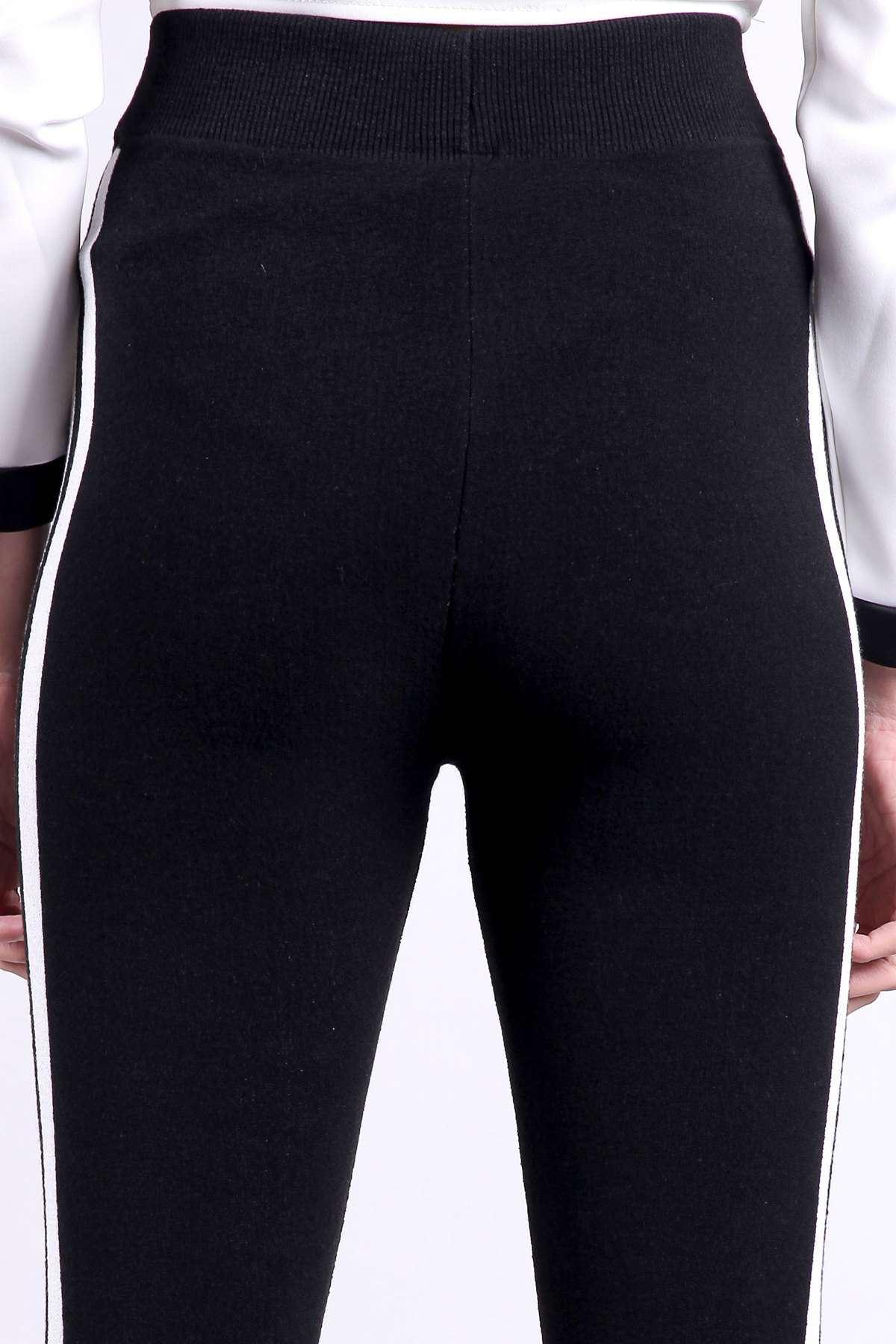 Yanlar Beyaz Çizgili Çelik Örgü Triko Tayt Siyah