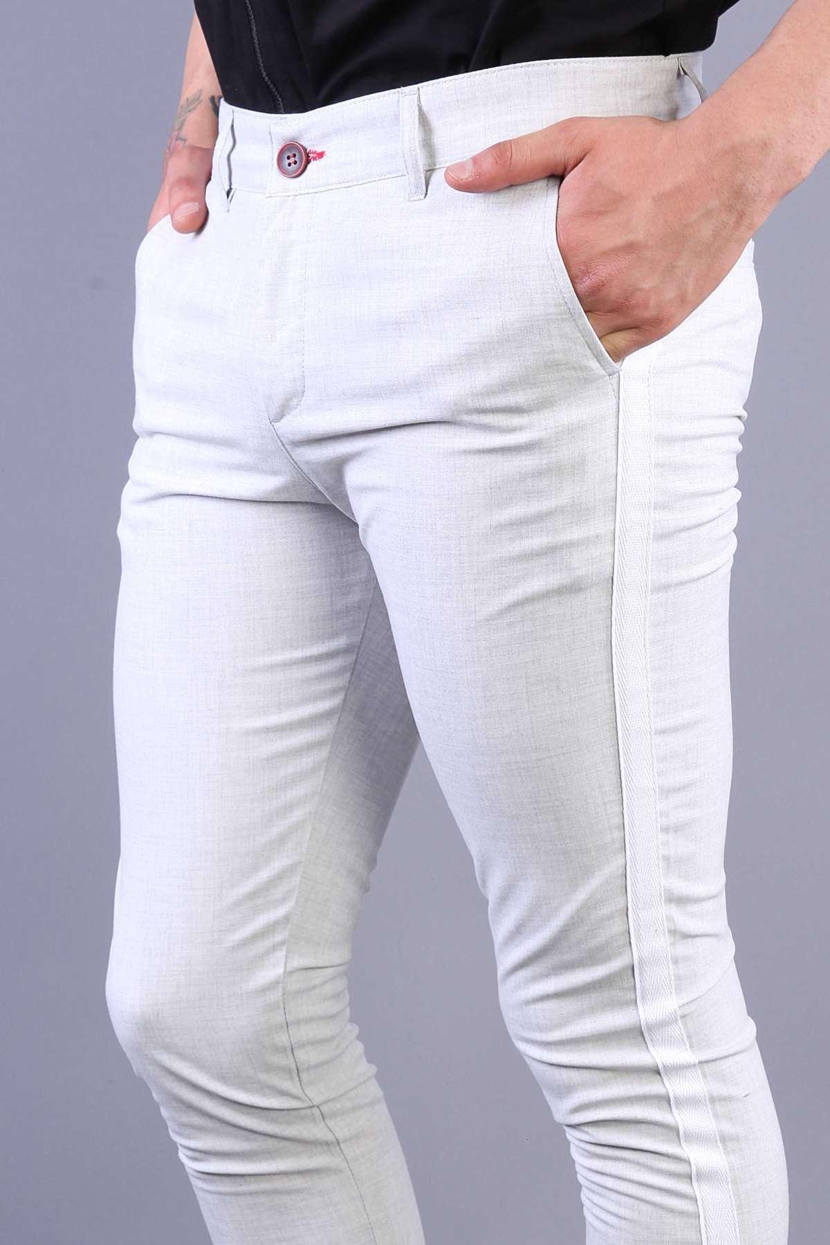Yanı Şeritli Çift Cep Fermuarlı Slim Fit Pantolon Krem