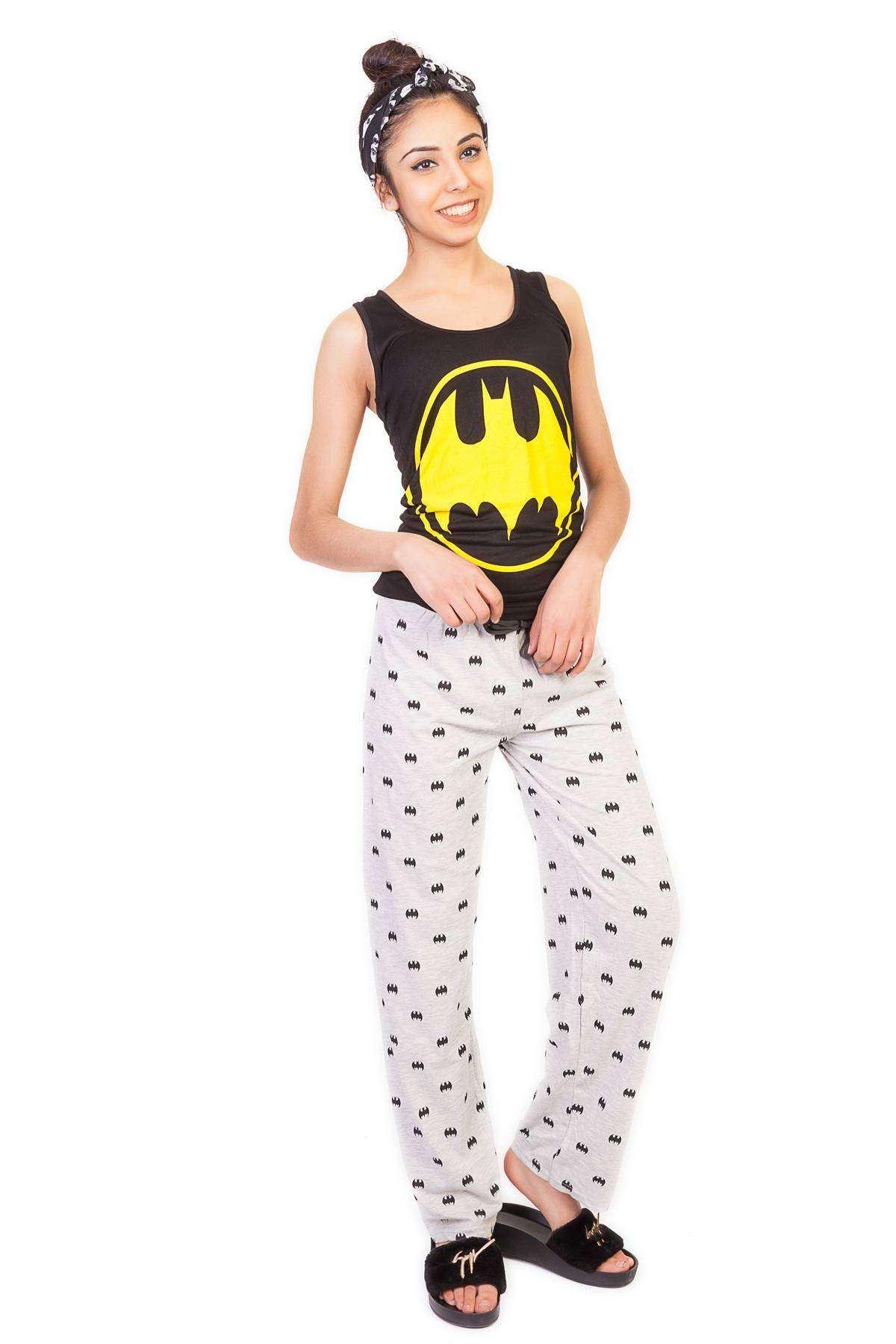 Yarasa Adam Baskılı Atletli Pijama Takımı Siyah-Gri