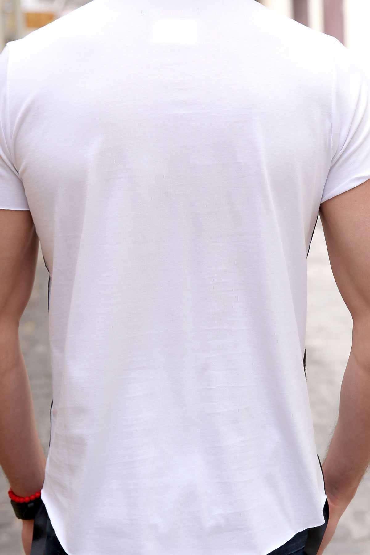 Yanları Yazı Şeritli Önü Kabartma Physical Yazılı Slim Fit Tişört Beyaz