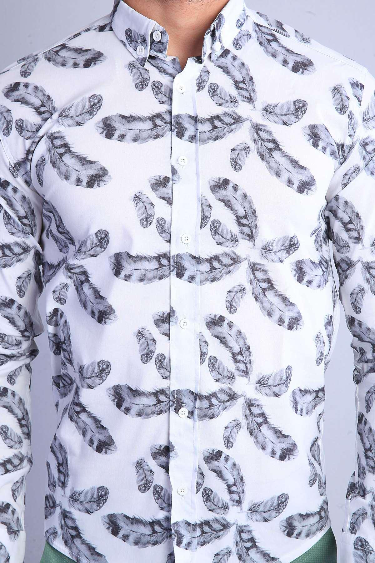 Yaprak Baskılı Slim Fit Gömlek Bey-Siyah