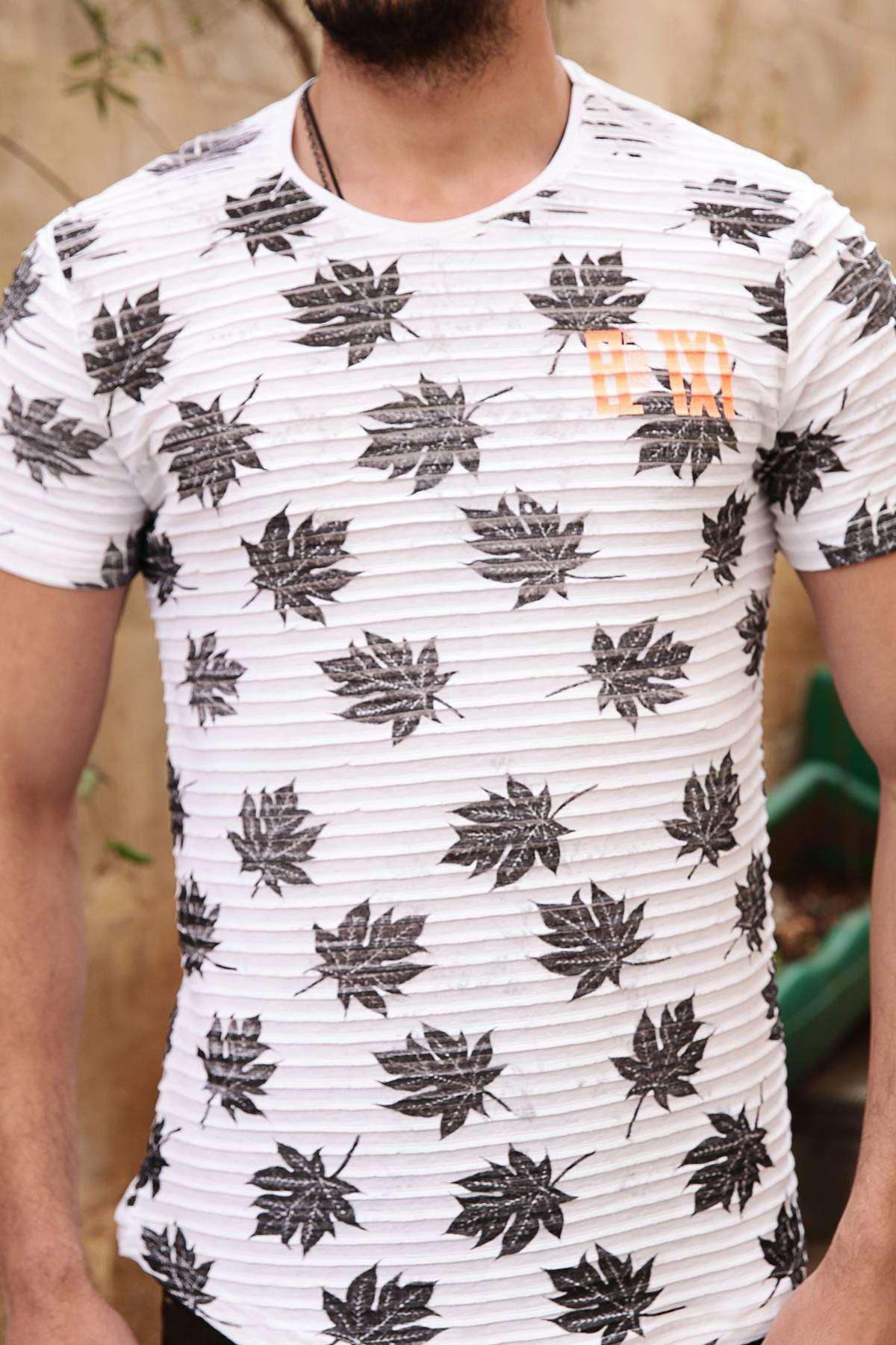 Yaprak Baskılı Enine Fitilli Slim Fit Tişört Beyaz