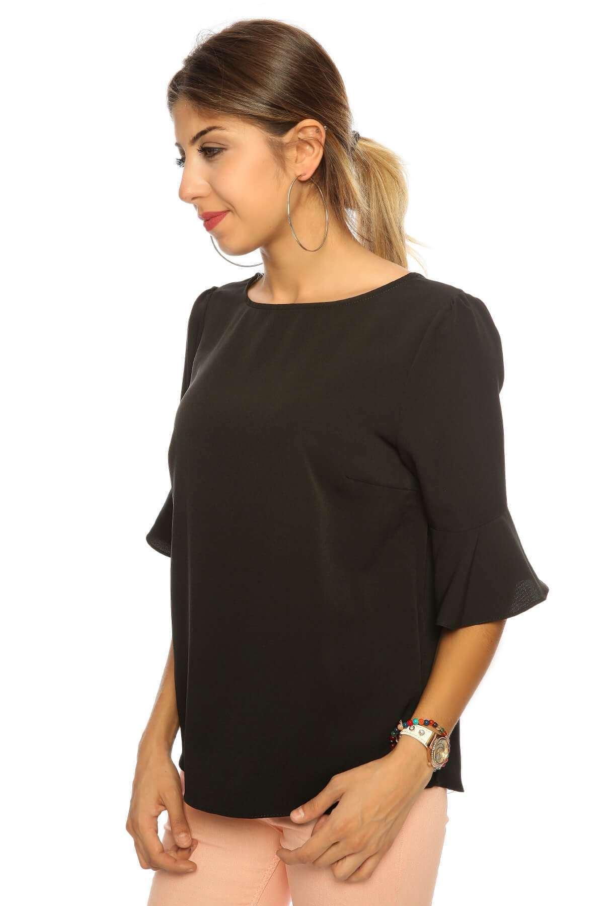 Yarım İspanyol Kol Basic Bluz Siyah