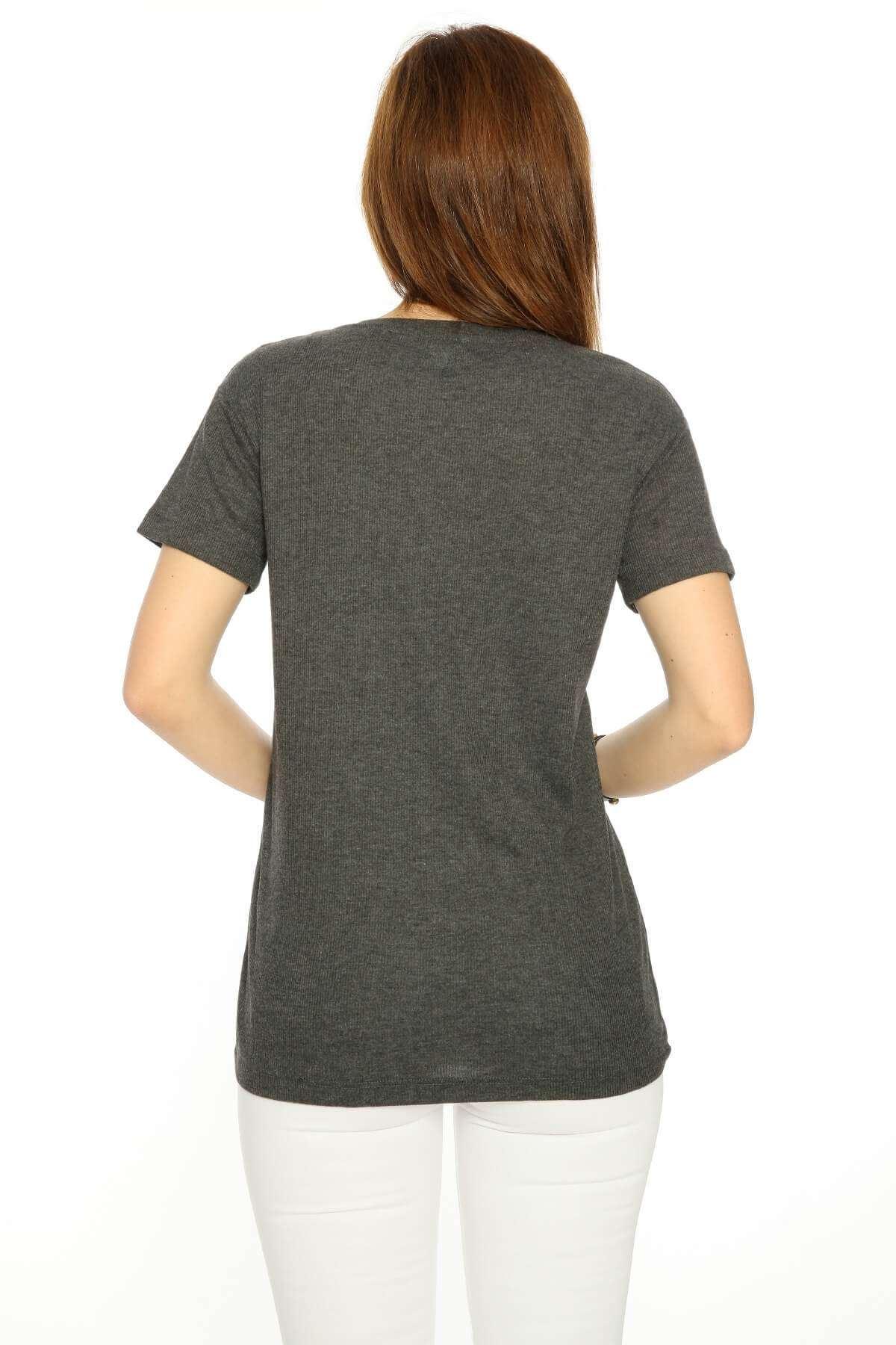 Yarım Kol Ön Plastik Armalı Bluz Füme