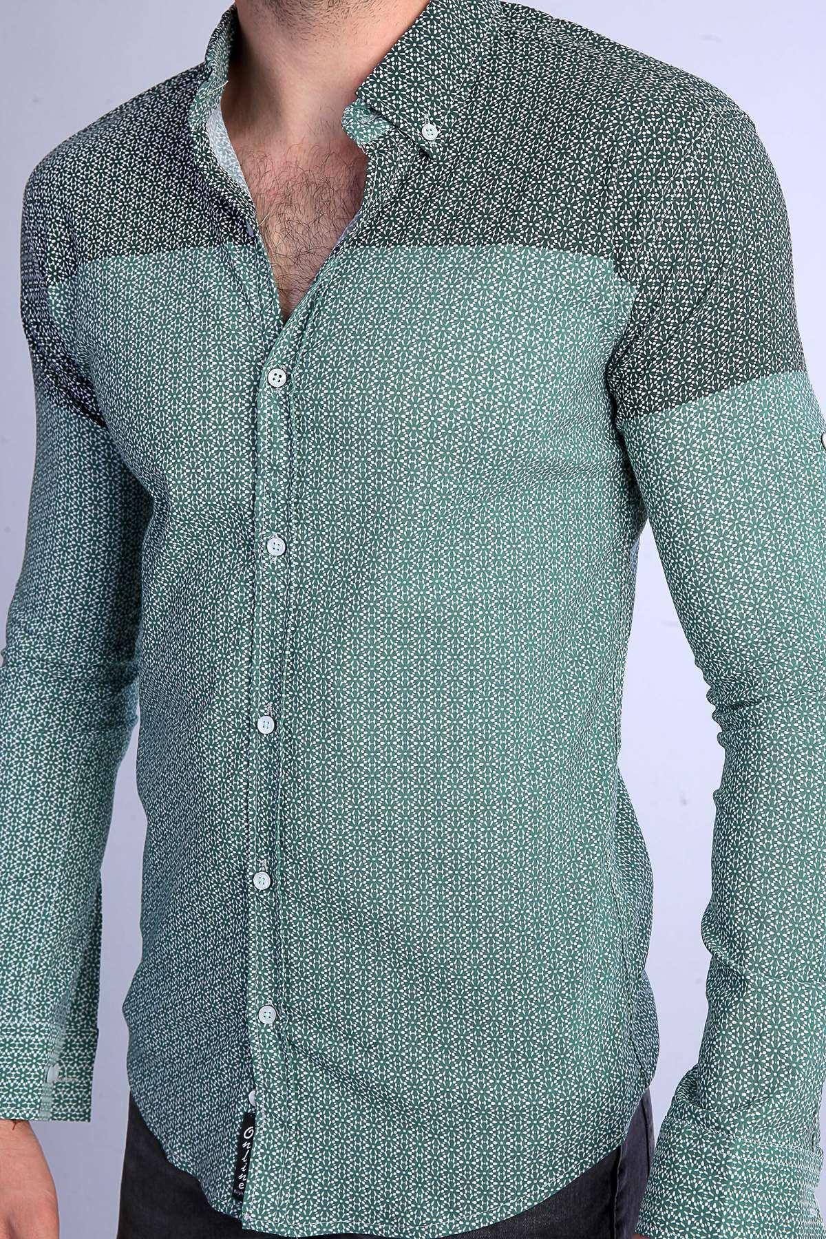 Yıldız Desenli Klasik Yaka Slim Fit Gömlek Haki