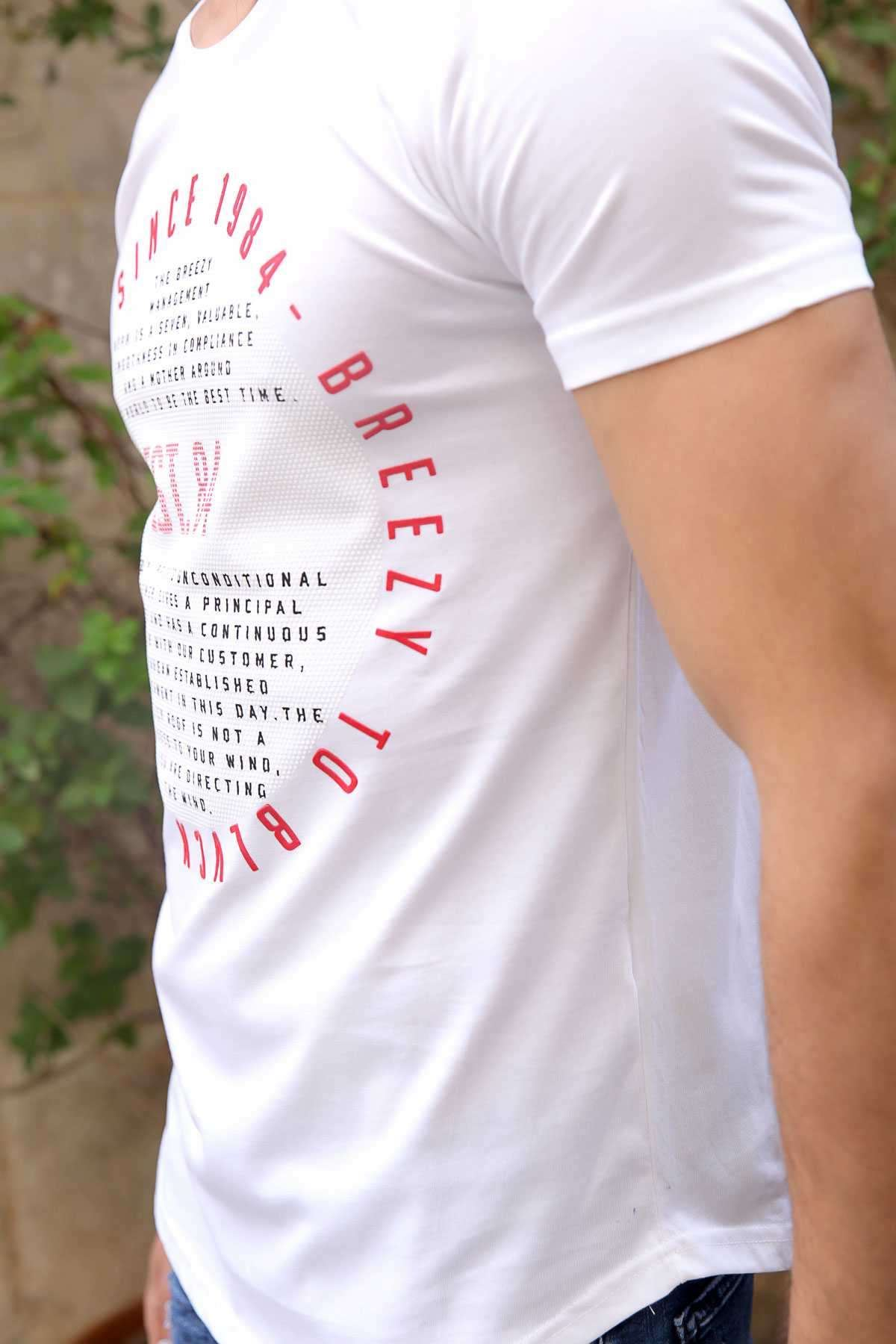 Yuvarlak Petek Desenli Est Yazı Baskılı Slim Fit Tişört Beyaz