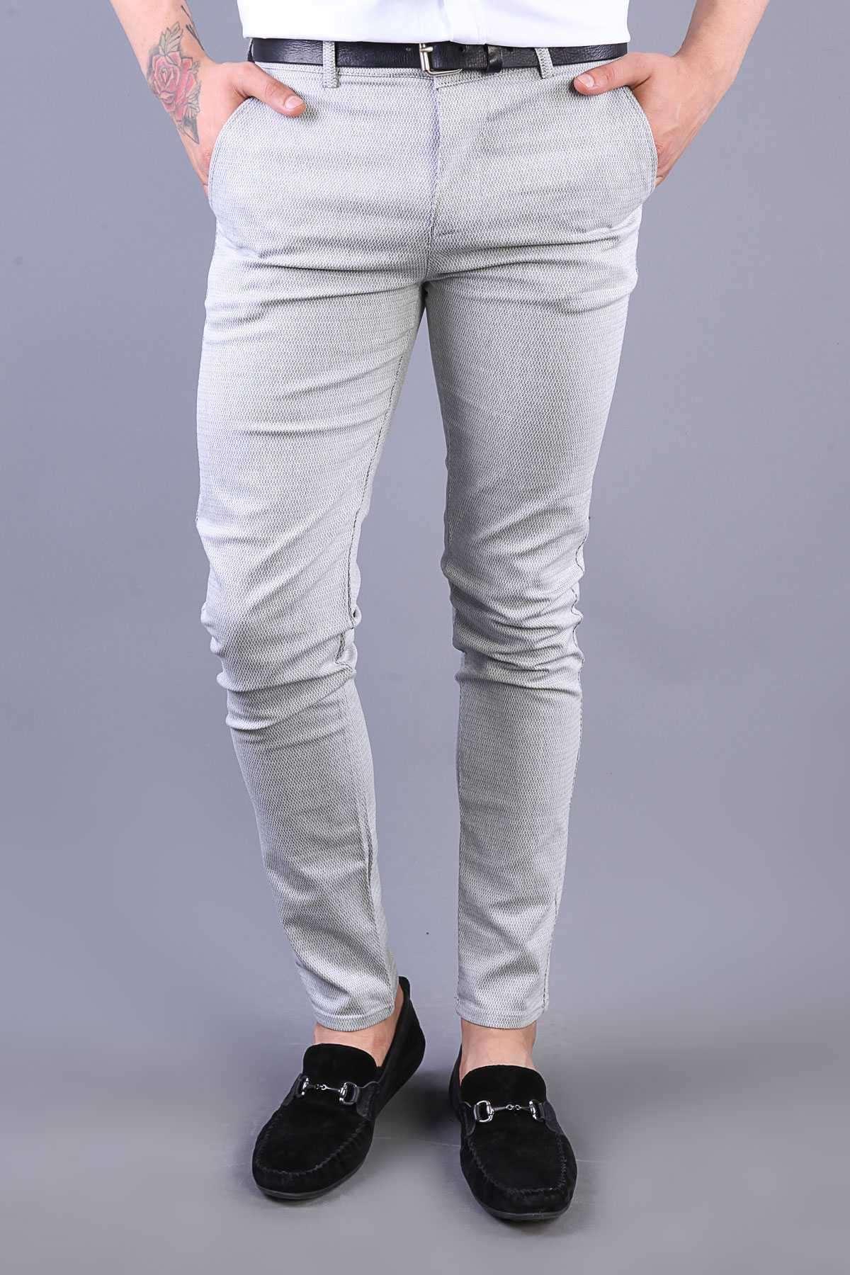 Zincirleme Desenli Slim Fit Pantolon Gri