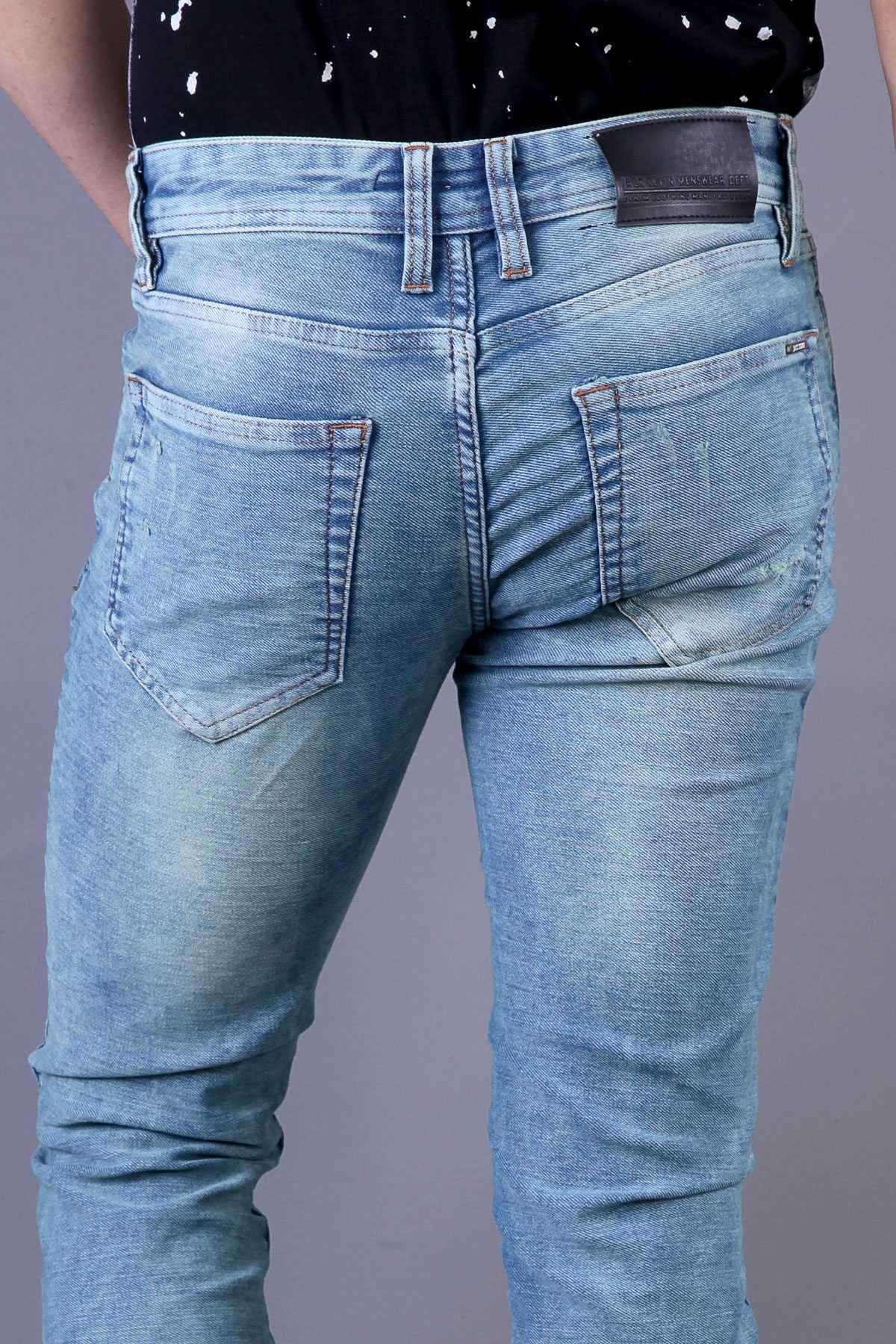 Yıkamalı Silme Lazerli Slim Fit Kot Pantolon Açık-Mavi