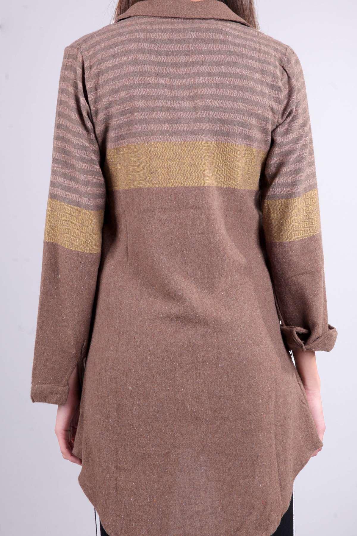 Yün İpli Balık Sırtı Model Enine Çizgili Gömlek Kahve- Hardal