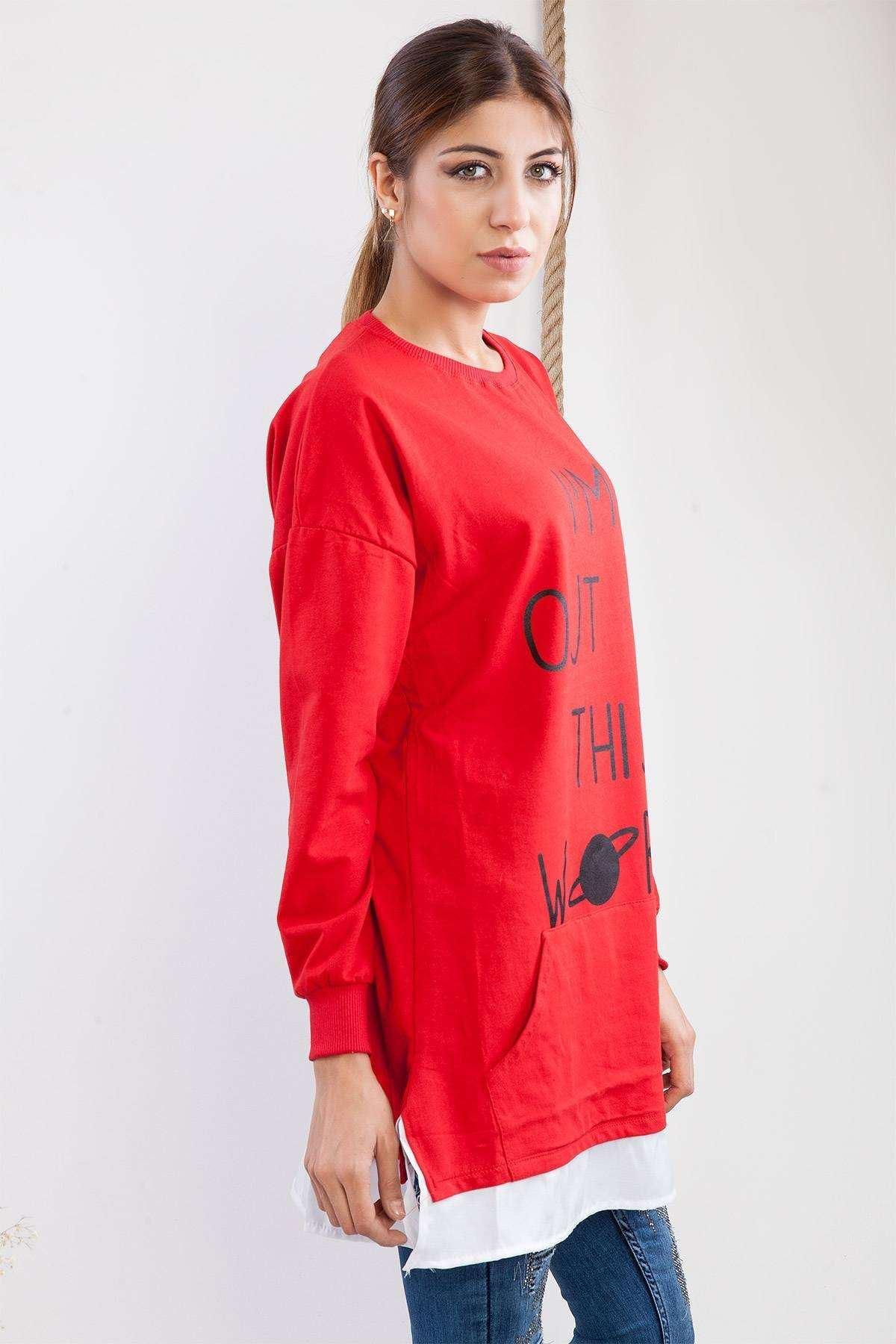 Yazı Baskılı Altı Detaylı Tunik Kırmızı