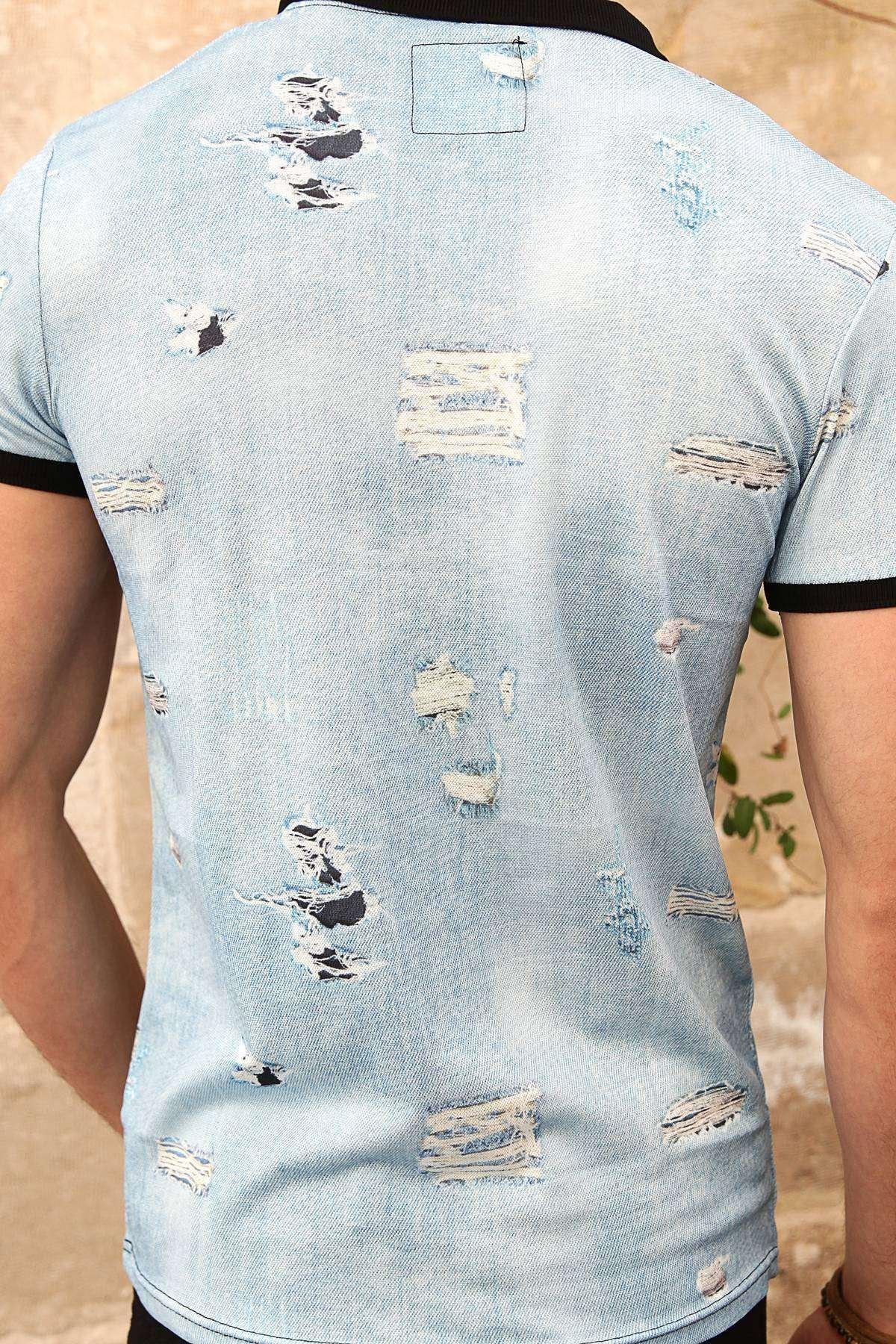 Yırtık Kot Baskılı Dijital Polo Yaka Slim Fit Tişört A.Mavi