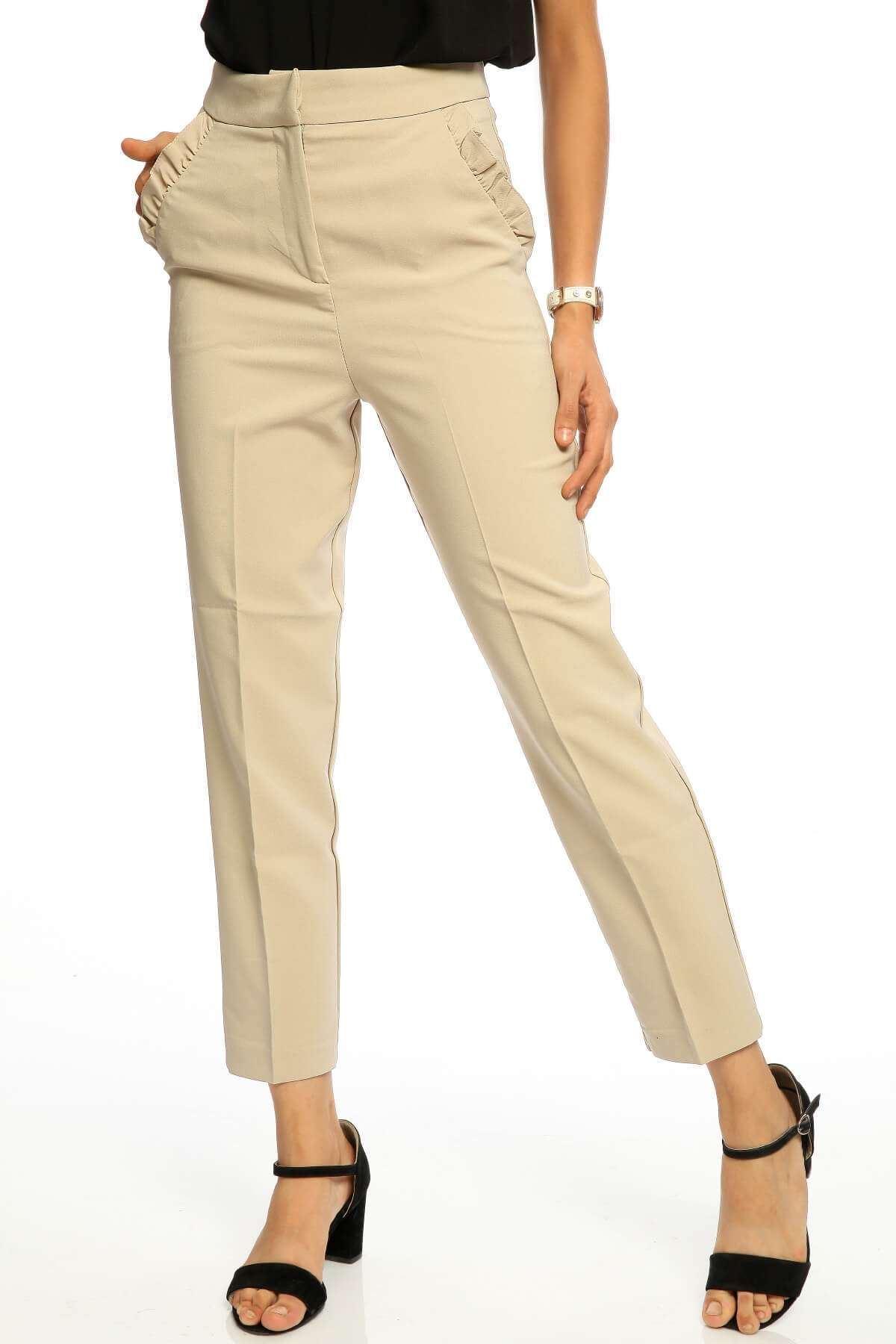 Yüksek Bel Cep Fırfır Detay Pantolon Bej