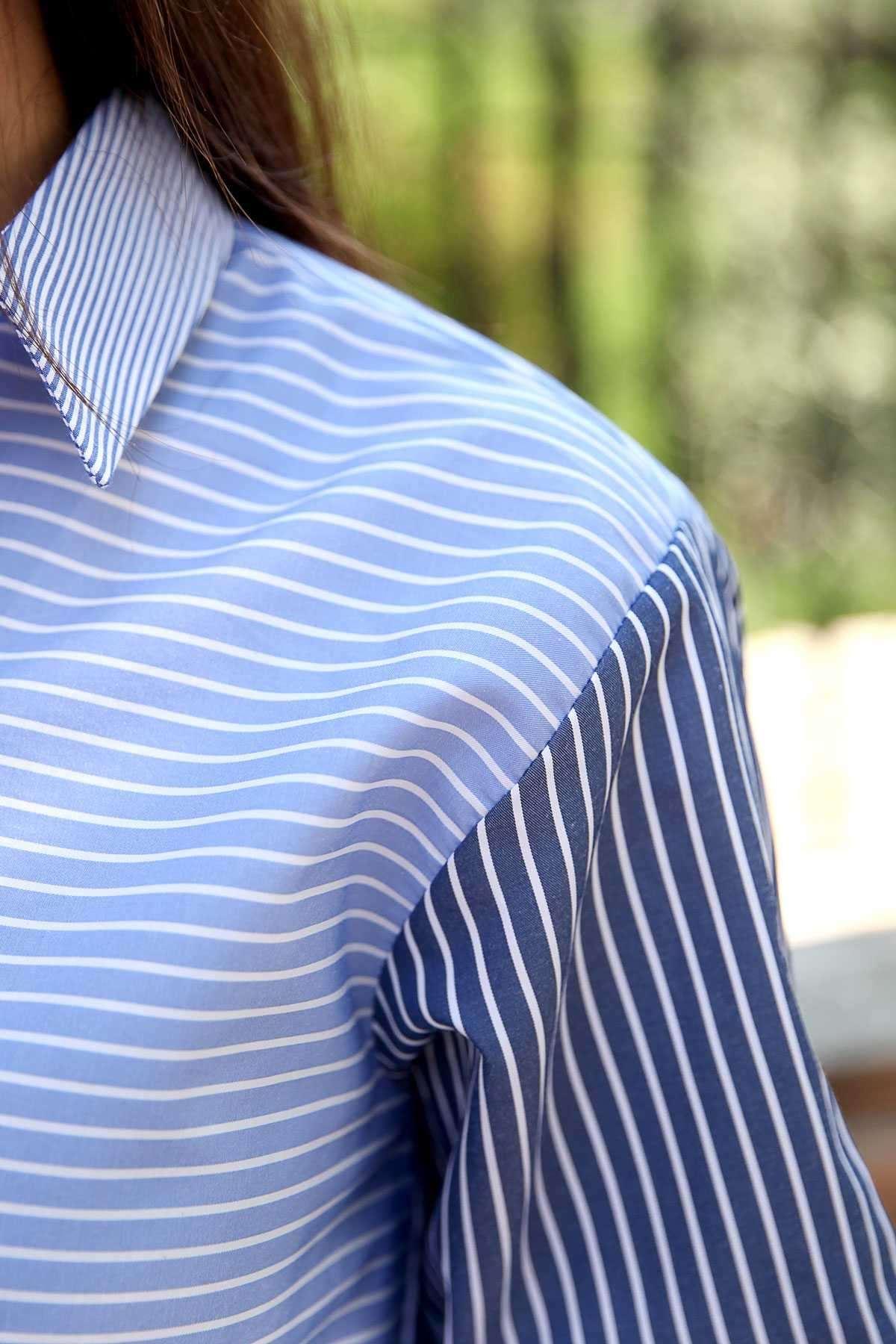 Yarısı Enine Yarısı Boyuna Çizgili Önü Kısa Arkası Uzun Gömlek Lacivert-Mavi