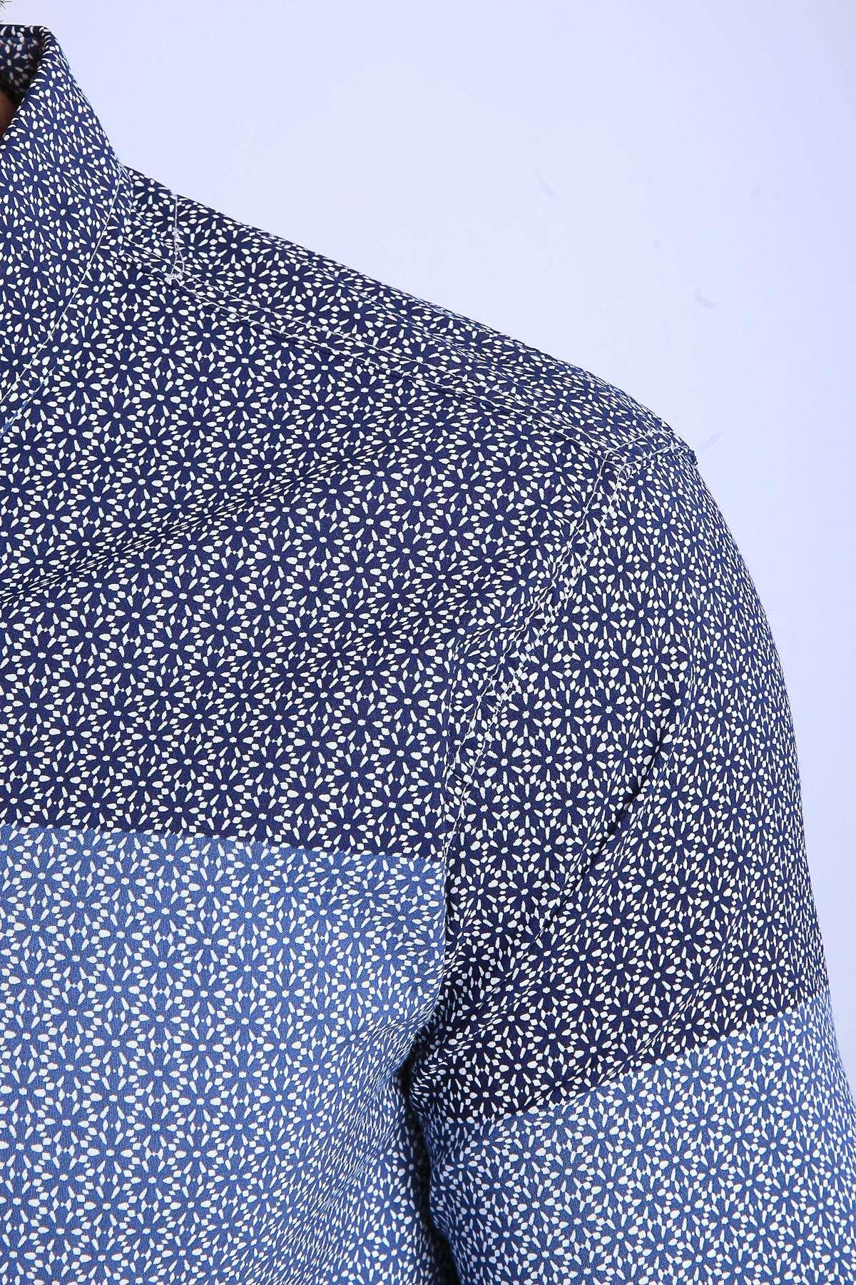 Yıldız Desenli Klasik Yaka Slim Fit Gömlek Lacivert