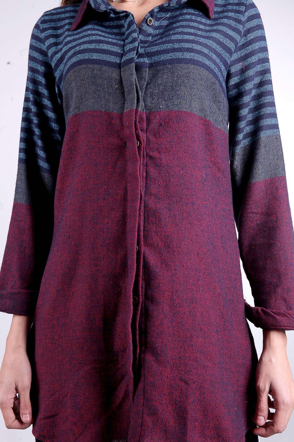 Yün İpli Balık Sırtı Model Enine Çizgili Gömlek Bordo