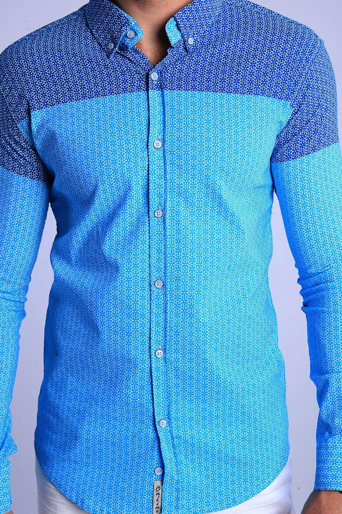 Yıldız Desenli Klasik Yaka Slim Fit Gömlek Turkuaz