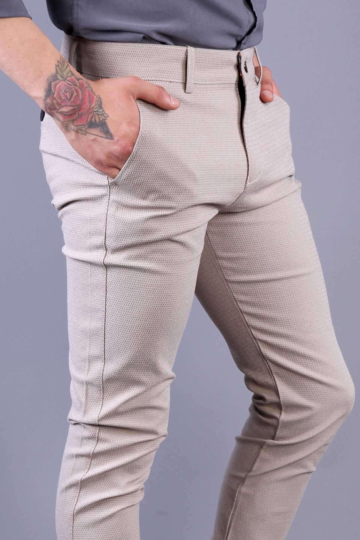 Zincirleme Desenli Slim Fit Pantolon Krem