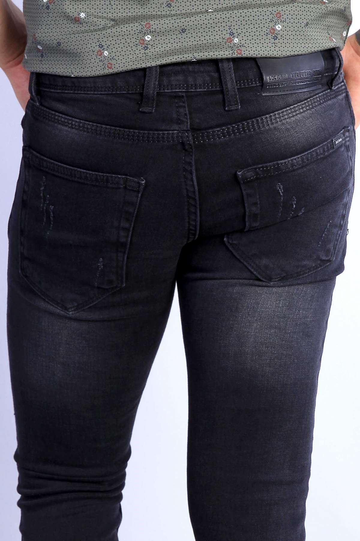 Yıkamalı Lazer Tırtıklı Klinkırlı Taşlamalı Slim Fit Kot Pantolon Siyah