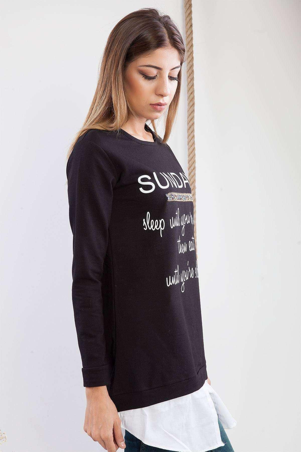 Yazı Baskılı Taşlı Altı Detaylı Tunik Siyah