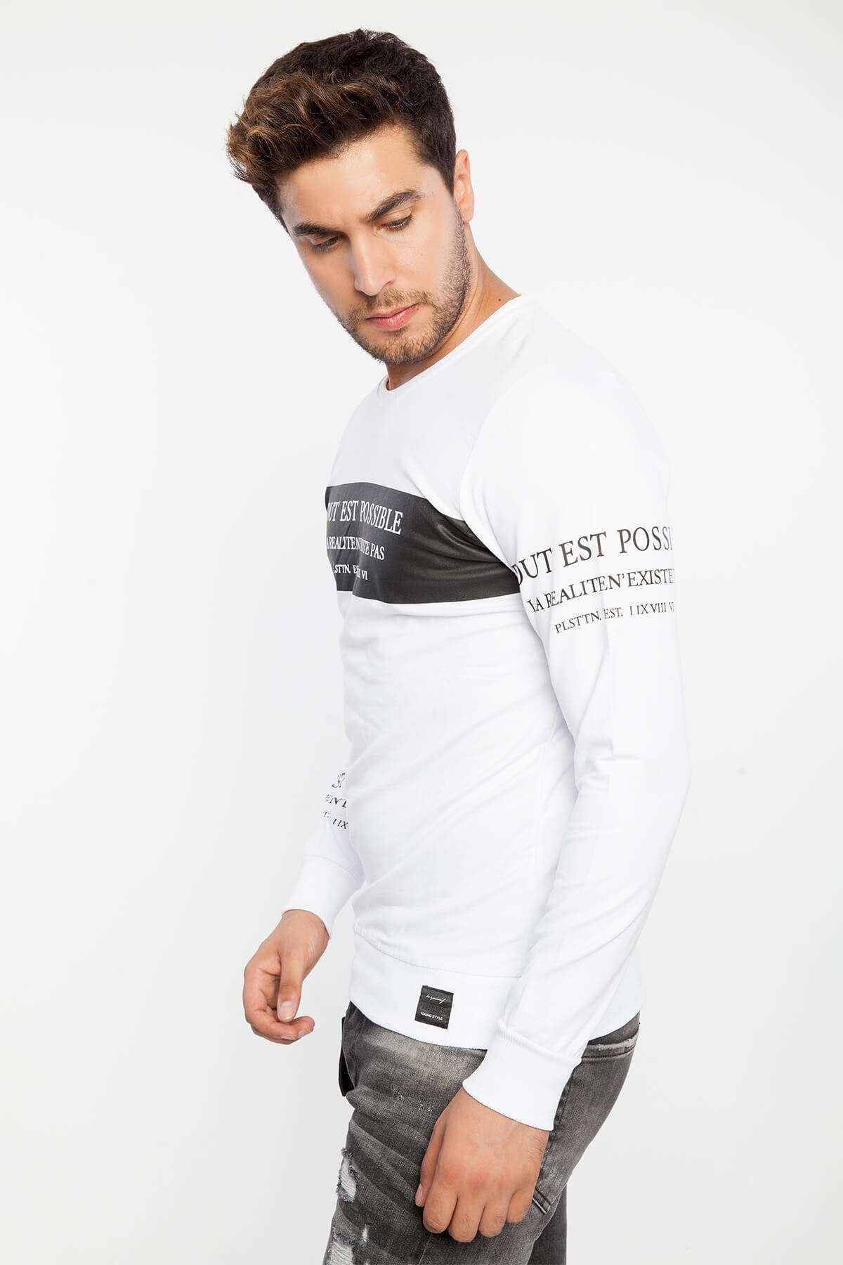 Yazı Baskılı Sıfır Yaka Sweatshirt Beyaz