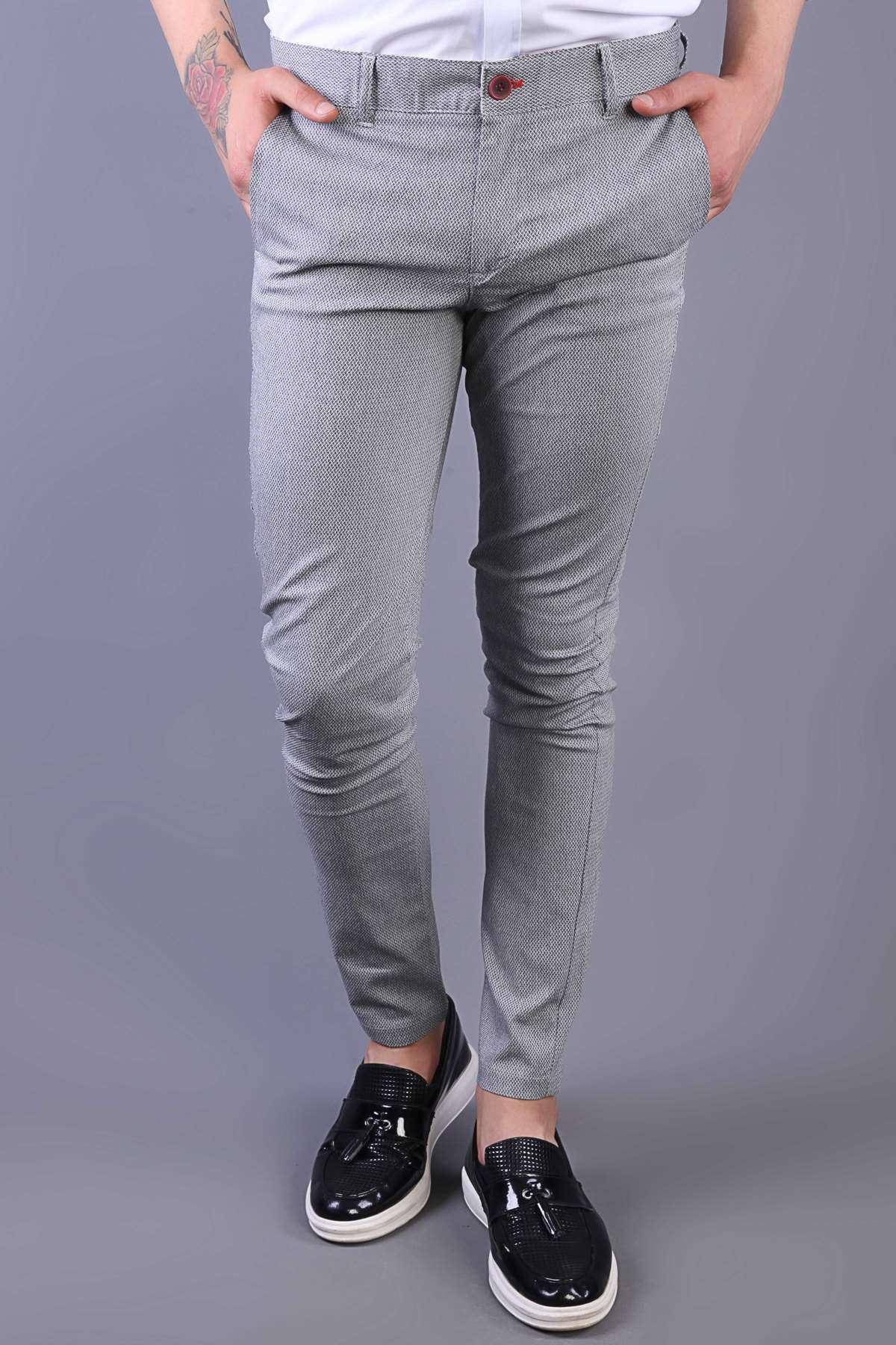 Zincirleme Desenli Çift Cep Slim Fit Pantolon Gri